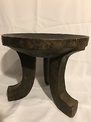 Ethiopia: African Ethiopian Tribal used Authentic 3-leg Gala stool 100 years old