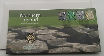 2001 Northern Ireland £1 Coin PNC 4 Stamps