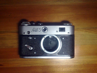 Vintage Fed 3 Camera Body and original leather case..