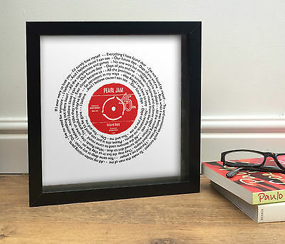 Pearl Jam FUTURE DAYS   Vinyl Single record look FRAMED PRINT can personalise