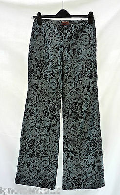 Romeo Gigli Designer Vintage 100% Silk Floral  Grey Blue Trousers 8 10 36 38