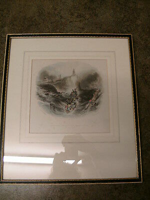 """Antique print 1842 """"A Lifeboat"""", Tynemouth Priory & Boat House, Maritime."""