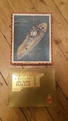 Two Vintage Victory Wood Jigsaws. Ship and London