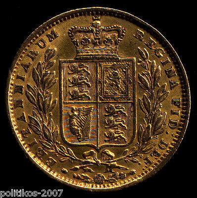 1851, Gold Full Sovereign, Victoria Young Head - Shield (EF?) IOLAS