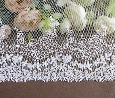 19 cm width Snow White / Off White Embroidery Mesh Lace Trim