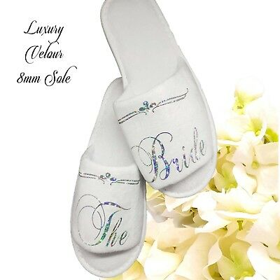 Wedding Bride Bridesmaid Hen Party Slippers  Sparkling Silver or Pink