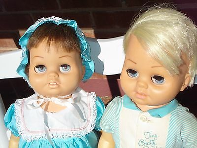 Lot of 2 Tiny Chatty Babies boy & girl orig clothes + coat. SHE talks VERY well!