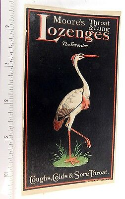 Lovely Dr. C.C. Moore's Throat & Lung Lozenges Stork Bird Pilules Trade Card F50