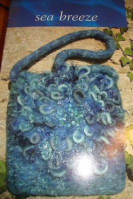 "Twilleys Knit and felt blue ""Seascape"" felted bag kit. New in box."