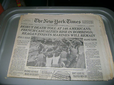 October 24,1983 New York Times  newspaper Beirut Bombing of Marine Headquarters