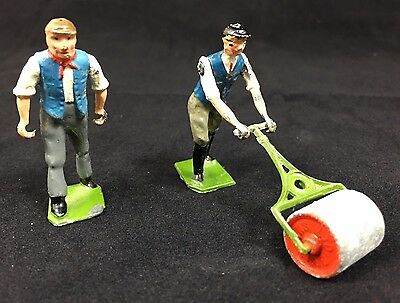 Vintage Britains England Lead Toy Figurines Farm Hands Lawn Roller