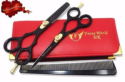 FW®- Professional Barber Hairdressing Scissors Thinning Hair Cutting Set 5.5''
