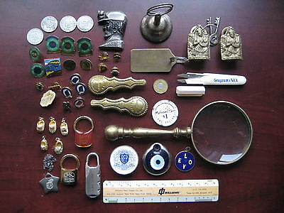 Odd Lot, Brass, Pins, Key Chains, Magnifying Glass And More