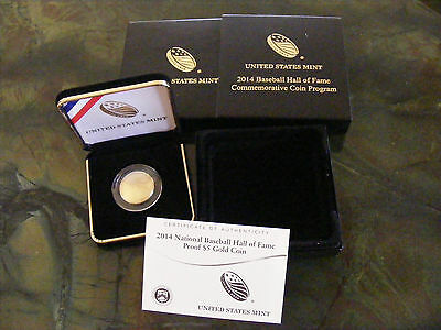 2014 National Baseball Hall Of Fame Proof $5 Gold Coin..awesome Collectable