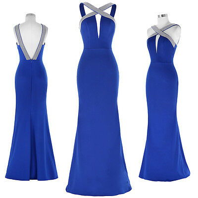 Blue Long Evening Prom Party Dress Gown Formal Wedding Bridesmaid Cocktail 6-18