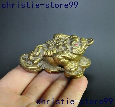 """3"""" Chinese fengshui brass money coin animal Golden toad toad bufo frog statue"""