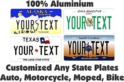 50 States Any Text Personalize Vehicle Car Auto OR Motorcycle License Plate Tag
