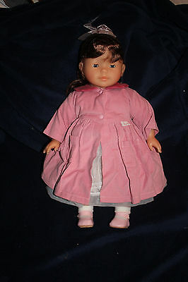"""French 17"""" Corolle Doll Brown Hair Clean Toddler Excellent Condition"""