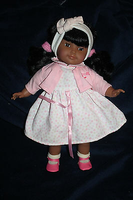 """French 14"""" Corolle Black Doll Brown Hair Clean Toddler Excellent Condition"""