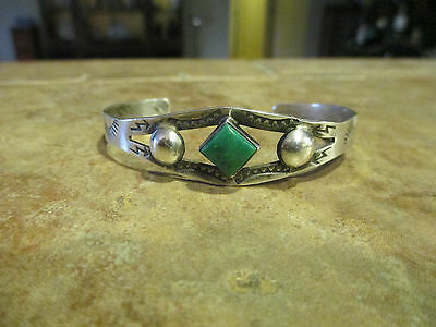 OLD Fred Harvey Era Navajo Sterling Silver Green Turquoise Cuff Bracelet