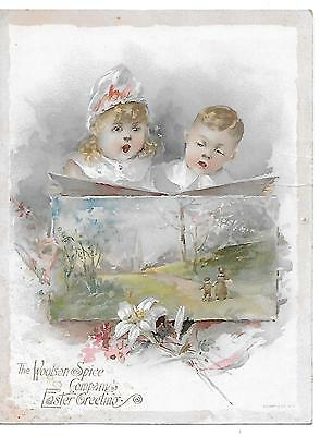 Big Victorian Trade Card-Lion Coffee-Toledo, Oh-Boy-Girl-Church Easter Greetings