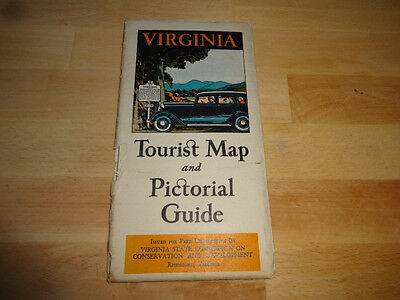 1934 Virginia Tourist Map & Pictorial Guide with Original Mailing Envelope