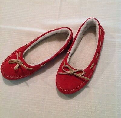 Red Leather Sz M 7 8 Women's Moccasins Flats Slippers Shoes