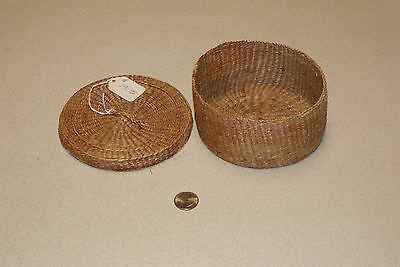 Vintage Native American Indian Basket Hand Woven with Lid & Color Design