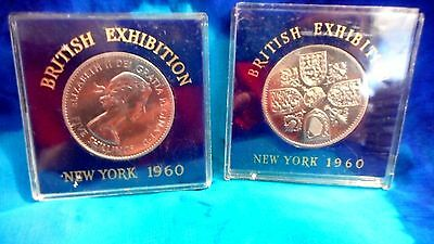 """1960 Great Britain Crown  """"british Exhibition In New York""""  Prooflike In Case"""