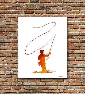 Fly Fishing Abstract Watercolor Painting Angling Art Print by Artist DJ Rogers