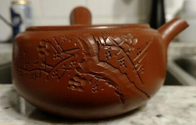 Early Carved CHINESE YIXING ZISHA Teapot MARK by handle Calligraphy on side