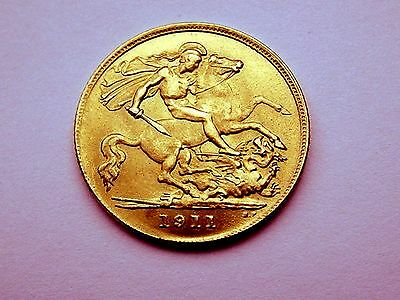 22Ct Gold George V Half Sovereign 1911 Very Fine Coin, Lustre
