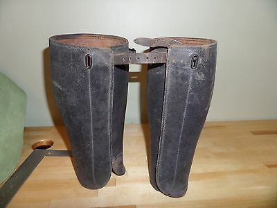 Antique Leather Military Wwi Shin Guards Spats Leggings Gaiters Puttees Cavalry
