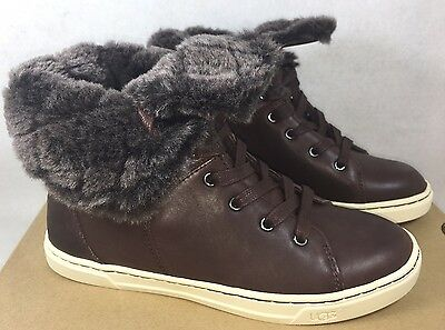 560966da43a UGG AUSTRALIA CROFT LUXE QUILT Espresso Brown LEATHER SHEEPSKIN Cuff  SNEAKERS