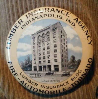Lumber Insurance Agency, Indianapolis illus celluloid paperweight 1929