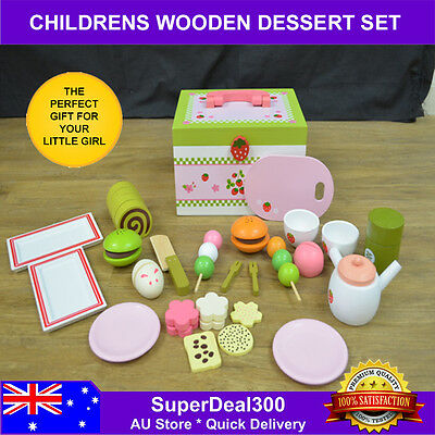 Kids Pretend Play Wooden Dessert Toy Set Includes 20+ Play Food Pieces