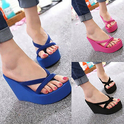 Fashion Women Beach High Heel Wedge Platform  Flip Flops Sandal Slipper Shoes