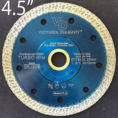 VD X-SHARP Turbo Rim Thin Mesh Diamond Saw Blade Porcelain Granite Hard Tile 4.5