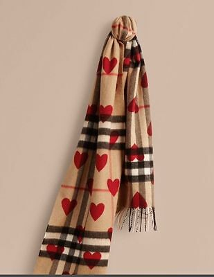 Brand New Burberry The Classic Cashmere Scarf in Check and Hearts - Parade Red