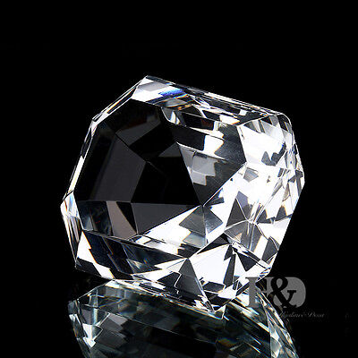Clear 60mm Crystal Diamond Shape Paperweight Cut Glass Wedding Gift with a Box