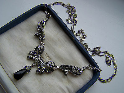 """Magnificent Vintage Sterling Silver Onyx & Marcasite Lavalier Necklace 18"""""""