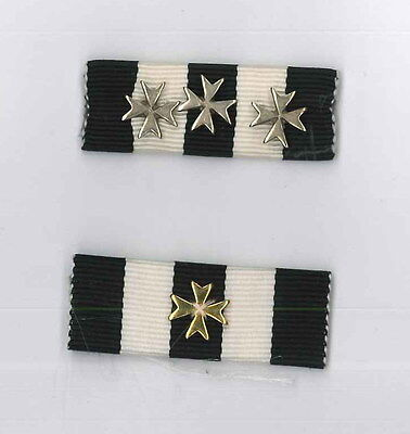 St. John Ambulance Long Service Medal ribbons with Silver and Gold Bars