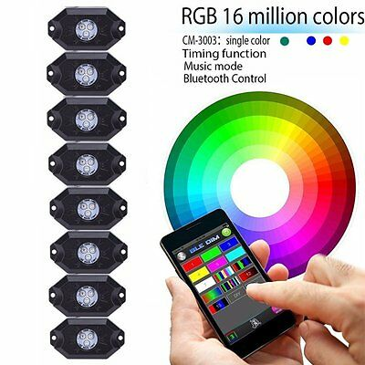 9W 8Pods Multicolor Neon LED Light Kit RGB Rock Lights with Bluetooth Controller
