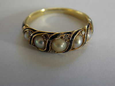Antique Victorian gold Mourning Ring diamonds, pearls, hair panel & enamel, 1867