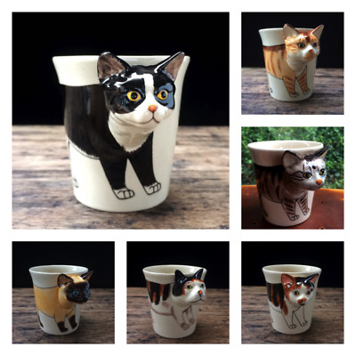 New 3D Cat Mug Ceramic Funny Cup Cute Gift Japanese Bobtail Tuxedo Orange Tabby