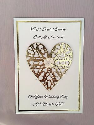 Handmade Wedding Card PERSONALISED Large Gold Sparkling Heart 3D **BEAUTIFUL**