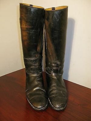 Vintage Long Leather English UK Size 8 Riding Hunting Equestrian Boots
