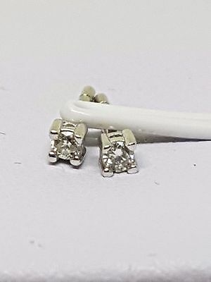 100% Genuine 9Ct White Gold Petite Diamond Solitaire Stud Earrings - Beautiful