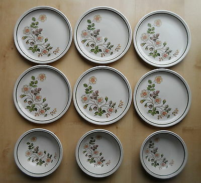 M&s Autumn Leaves Pattern Salad Plates & Cereal Bowls X9 Marks And Spencer