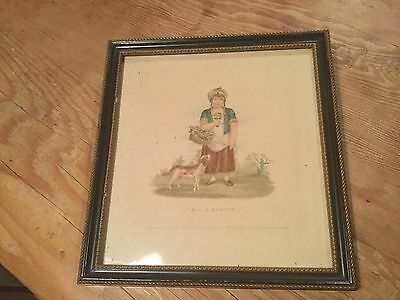 """ANTIQUE 19th C.S & J.FULLER FRAMED PRINT """"ALL A BLOWING""""20x19 cm"""
